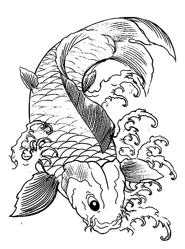 Japanese koi coloring pages
