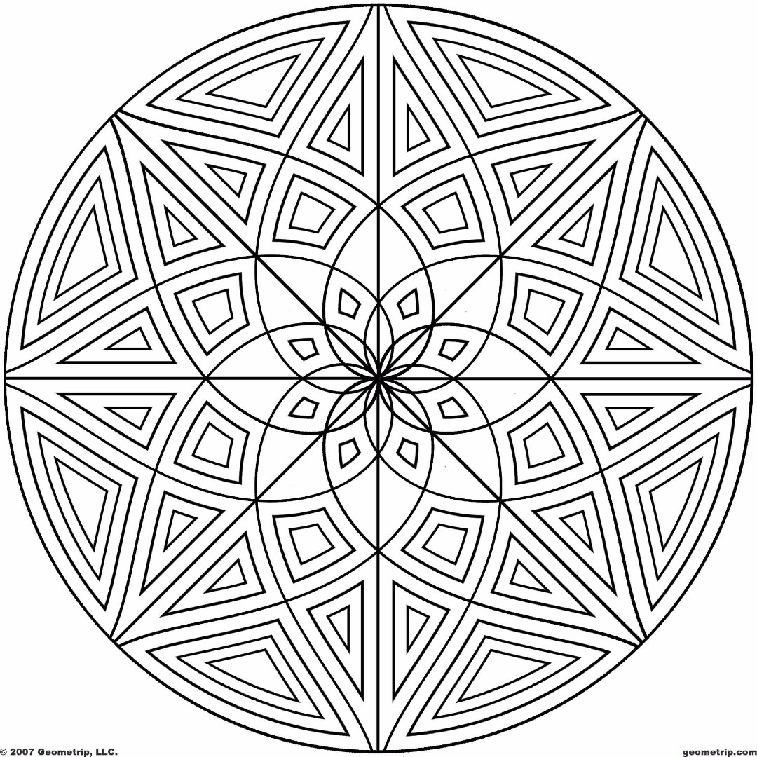 Geometric design coloring pages