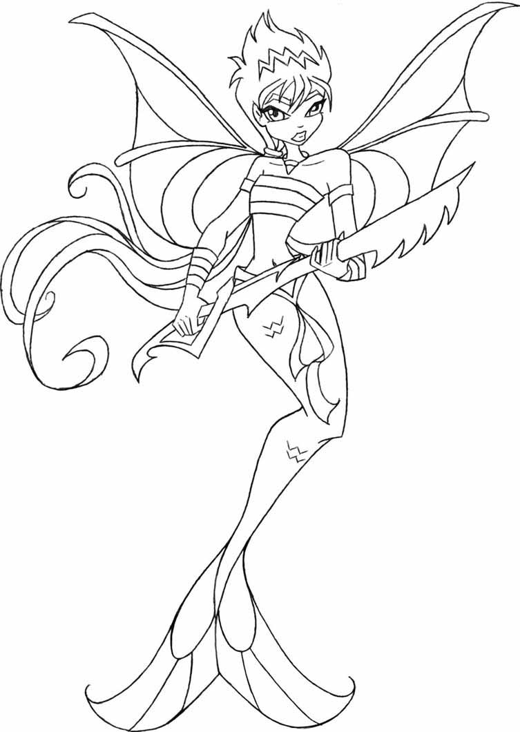 Free Winx Mermaid coloring pages to print for kids.