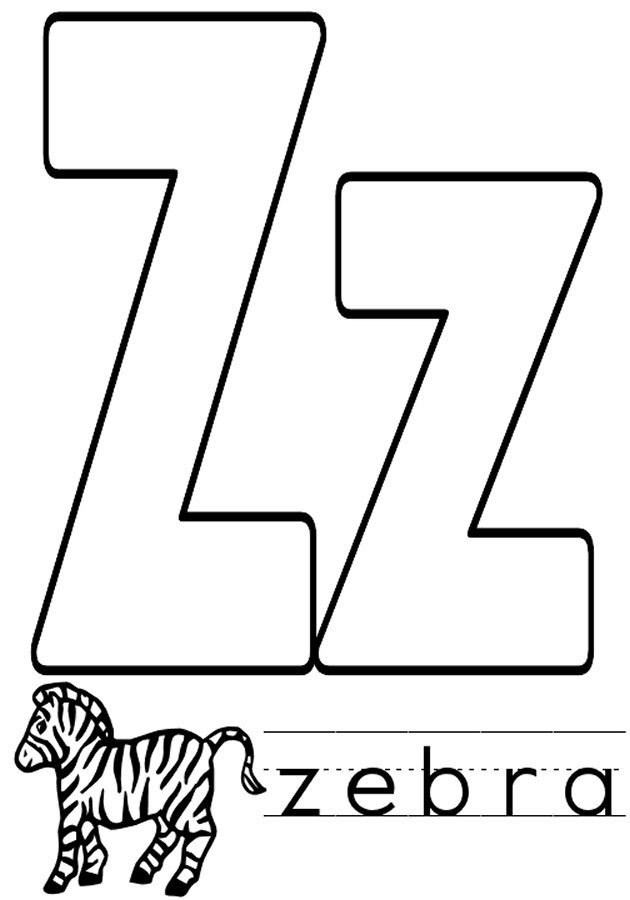the letter z coloring pages - photo#12