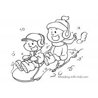 Winter sledding coloring pages