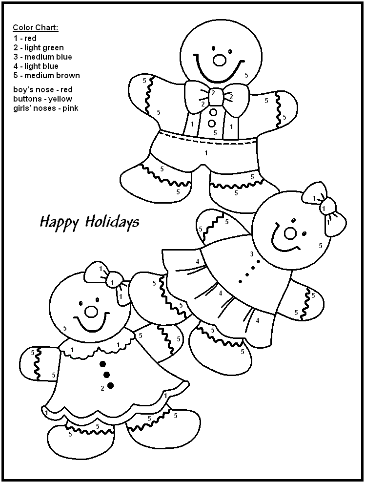 Christmas Color By Numbers to download and print for free